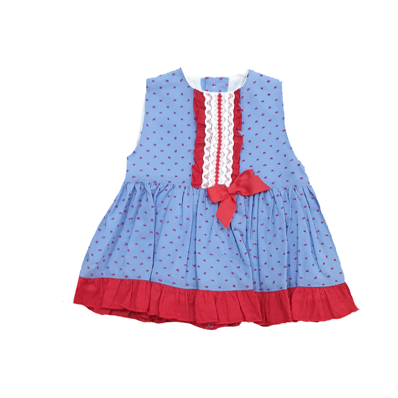 1407 Vestido plumeti azulón niña