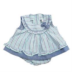 5535 Conjunto rayas lino bebé niña