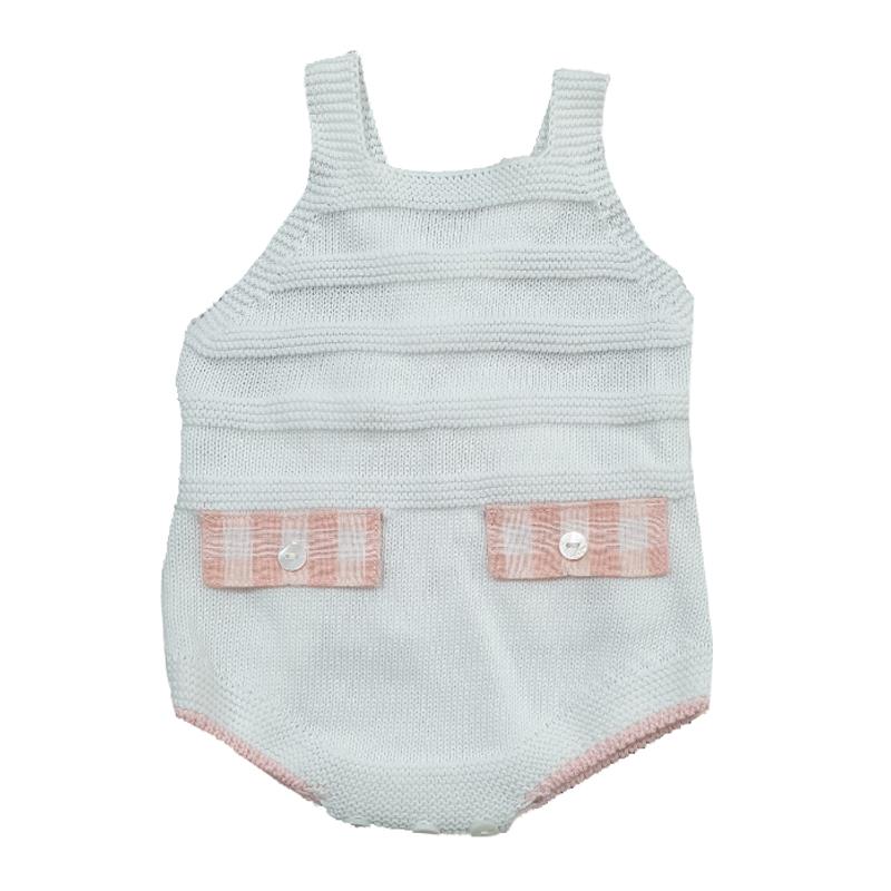 997-001 Peto en punto cuadros bebé niña