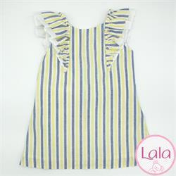2285 Vestido rayas lino niña